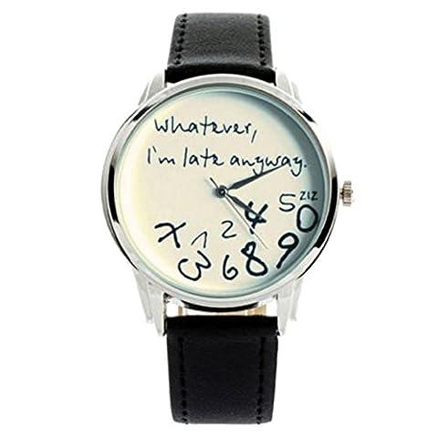 Zolimx Armbanduhr Frauen Männer Analog Quartz Uhren, Egal, ich bin sowieso zu spät (C)