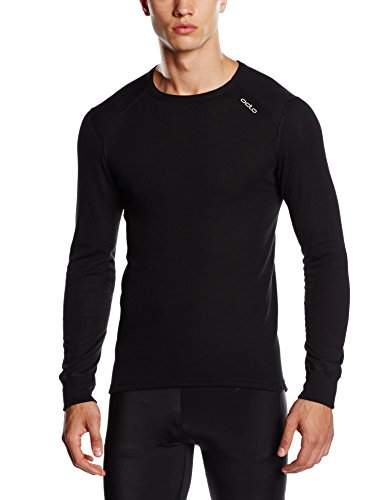 Black Thermal Langarm-shirt (Odlo Herren Langarm Unterhemd Crew Neck Warm, black, XXL, 152022)