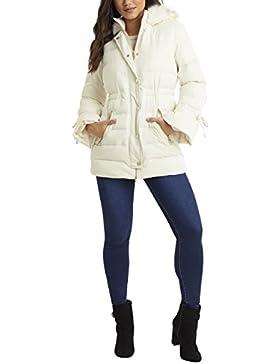 Lipsy Mujer Chaqueta acolchada con capucha de piel sintética Blanco EU 36 (UK 8)