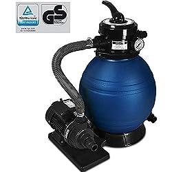Deuba Pompe Filtre à Sable et particule 10200 l/h métal avec Pompe Nettoyage 4 Fonctions Piscine bassins Aquatiques indicateur de Pression TÜV certifié