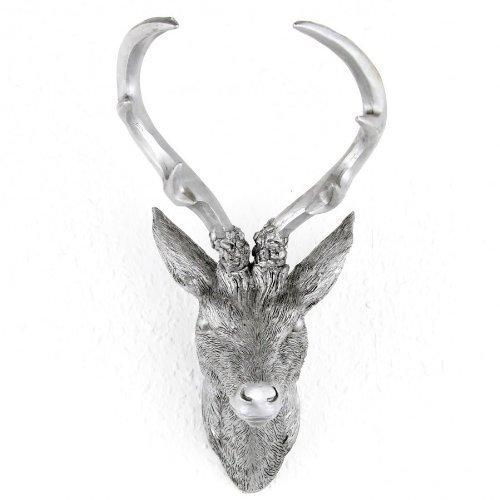 LINDER EXCLUSIV Cabeza de Ciervo Cuerno de 10de Ender para Color y Tamaño a Elegir, Resina, Plata, 15 x 30 cm
