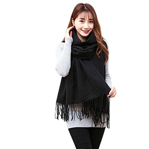 Butterme Solid Color Mode lange Schal Damen Winter Warmer Kaschmir Spüren Große Schal (Schwarz)