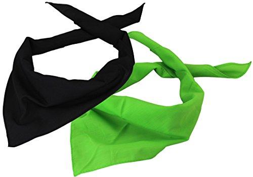 Foulard Triangle / Bandana tour de cou Femme Homme en Lot de 2 noir/limette