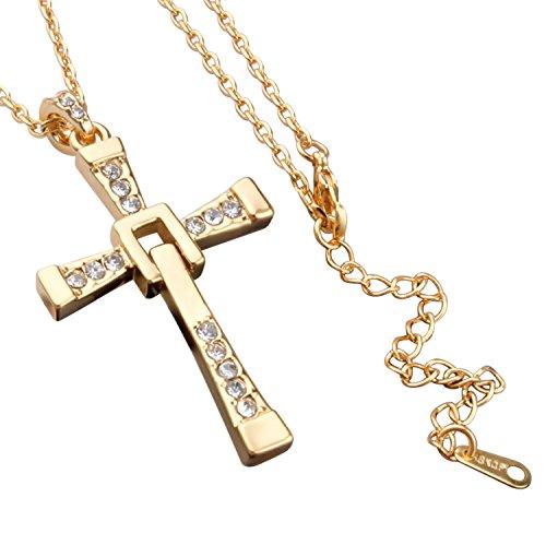 Veuer Schmuck für Damen Gold Kreuz-Anhänger Strass-Steine Hals-Kette Vergoldet Jesus Christus Religion Geschenk für die Frau / Freundin / Frauen