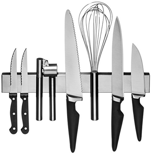 Stainless Steel Magnetic Knife Rack: Strong 36 cm - 14 Inch Kitchen Knives Bar & Garage Organiser Strip Mount Magnet - Flush Mounted Space Saver & Holder For Hand Tools Scissors Cutlery & Utensils