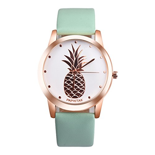 GWELL Damen Herren Armbanduhr Fashion Anana Pineapple Jungen Mädchen Uhren Paaruhren Analog Quarz Wasserdicht Lässig Rosengold Mintgrün