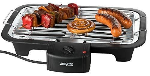 LONESTAR Elektrische Barbecue Schwarz Maße: 37cm x 28cm x 7cm (Höhe x Breite x Tiefe)