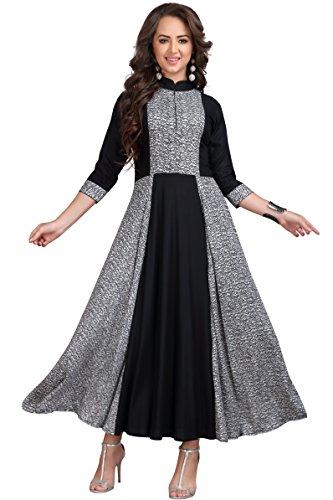 MT Women's Rayon Party Wear Long Kurti (MA-2043 xl_Grey_x-large)