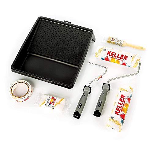 KELLER Kit Rodillos De Pintura Antigoteo Calidad Profesional Con Bandeja Recambios Mini Rodillo Pincel y Cinta