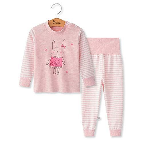 Chickwing Kinder Zweiteiliger Schlafanzug, Mädchen Jungen Unisex Langarm Hohe Taille Pyjama Pjs 100% Baumwolle 6 Monate-5 Jahre Höhe Größe 73 80 90 100 110 (12-18 Monate, Rosa Hasenstreifen)