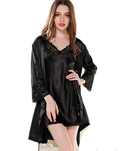 Kenmont Damen Nachthemd Morgenmantel Bademäntel Pyjama Set Spitze Negligee Kimono Negligee Dessous Schlafanzüge Schwarz