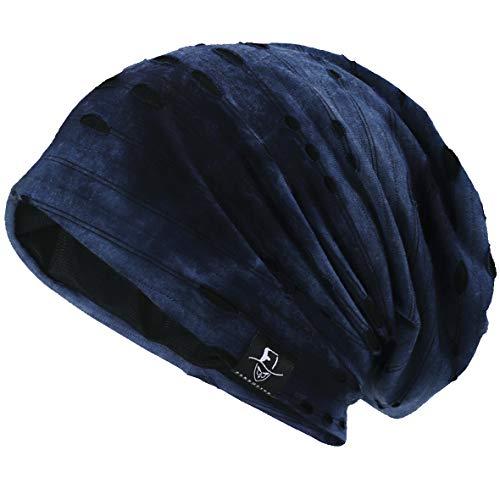 VECRY Herren Jersey Slouch Mütze Sommer Skullcap (B-Blau, Dünn Cool) Knit Slouch Beanie