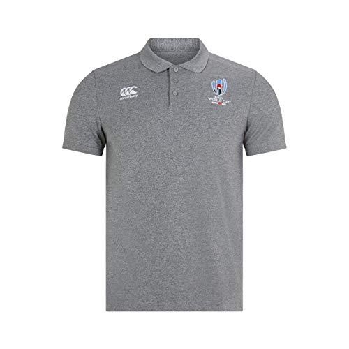 Canterbury Herren Offizielles Rugby World Cup 2019 Baumwollpikee Polo, Static-Grau meliert, 2XL -
