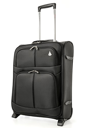 Aerolite 55x40x20cm Ryanair Maximum Allowance 42L Lightweight Travel Carry On Hand Cabin Luggage Suitcase with 2 Wheels – Also Approved for Easyjet, British Airways. (3 x Suitcase Only,Black)