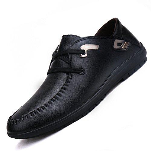 GRRONG Herren Lederschuhe Geschäft Freizeit Mode Schwarz Braun Blau Black
