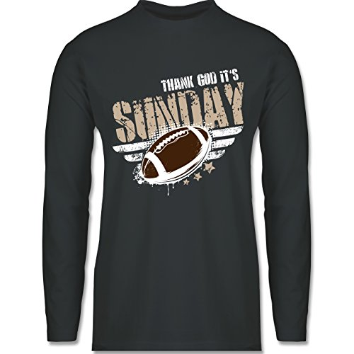 Shirtracer American Football - Thank God Its Sunday Football - Herren Langarmshirt Dunkelgrau