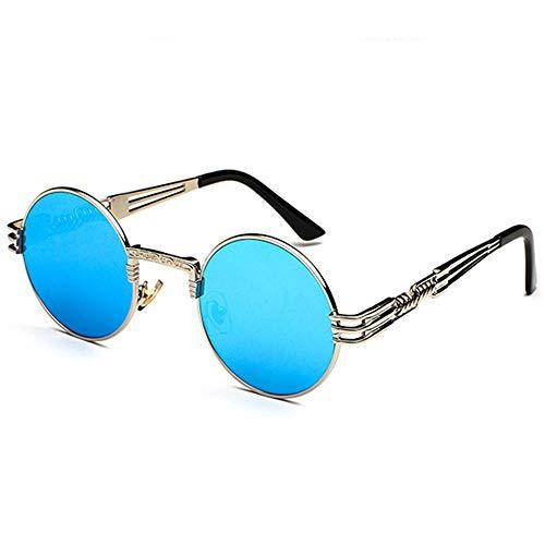 WULE-Sunglasses Unisex New Personality Vintage Steampunk UV400 Sonnenbrille Runder Rahmen Trend Silberrahmen Blaue Linse Damen Sonnenbrille Herren Reise Selfie