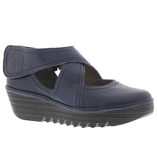Fly London Womens Rafe 657 Fly Mousse Wedge Leather Shoes Ocean
