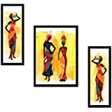 SAF UV Textured Modern Art Print Framed Painting (Synthetic, 35 cm x 2 cm x 50 cm, Set of 3)