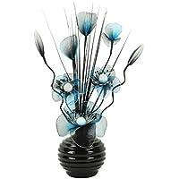 Flourish–Jarrón pequeño 723248––813–Jarrón con flores de nailon artificiales Turquesa/Negro y texto en, diseño Home Accessorie, 32cm, color azul