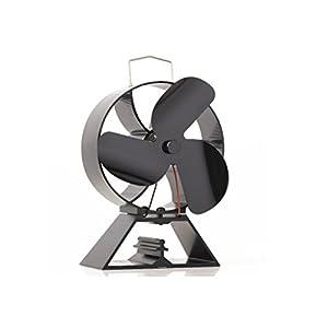 Ventilador de 3 hojas con ventilador de respaldo redondo para estufa de leña / estufa de leña Chimenea silenciosa Eco…