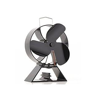 Ventilador de 3 hojas con ventilador de respaldo redondo para estufa de leña / estufa de leña Chimenea silenciosa Eco amigable con circulación de calor de manera eficiente (Oro)