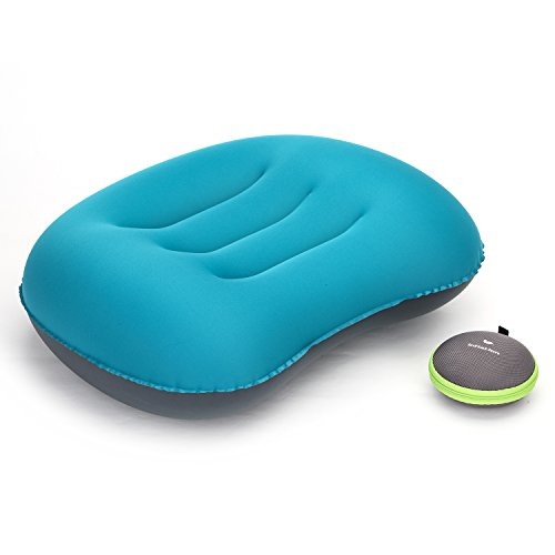 topnaca® Ultraligero Camping viaje inflable almohada, cómodo y portátil compacto, para senderismo, Backpacking, Picnic, deportes al aire libre, Blue - Updated Version