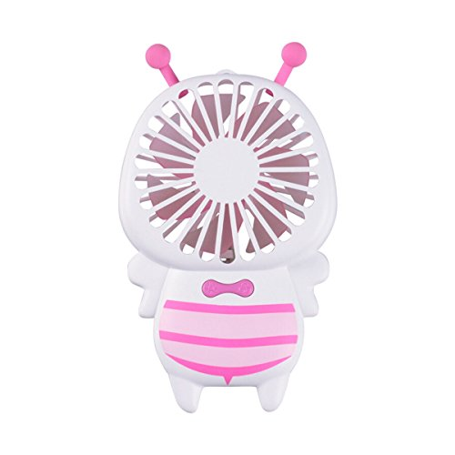 Iitrust Mini Handheld Fan, Bee USB-Ventilator mit Bunt-Nachtlicht für Büro Outdoor Reise und Weitere (Rosa)