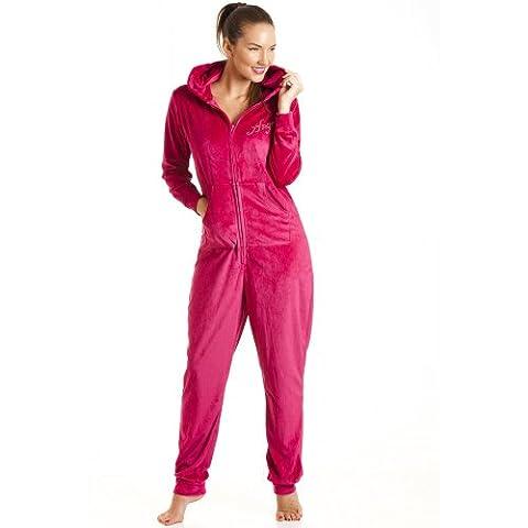 Damen Schlafanzug-Einteiler aus Samt mit Kapuze - Engel-Motiv rosa - Größen 36-50 42/44