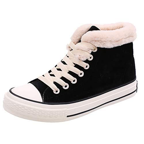 Flache Schuhe Damen High Top Kurze Stiefel Baumwolle Segeltuchschuhe Verdickung Sportschuhe Warme Freizeitschuhe Board Schuhe Espadrilles, Schwarz -