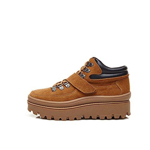 Muffin con stivaletti round piattaforma spessa con un pan di spagna con Martin stivali stivali scarpe da arrampicata marea femmina scarpe scarponi da neve brown