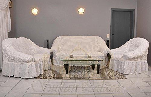 Stretch 2 Sitzer Bezug, 2 Sitzer Husse aus Baumwolle & Polyester. Sehr elastische Sofaueberwurf in weiß. Sofabezug Hussen Sofahusse Stretch Husse / Stretch Hussen / Sofahusse 2-Sitzer / Sofabezug 2 Sitzer