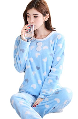 Auspicious beginning Donna rotonda collo indossata casuale stampata Pjs Set Flannel Sleepwear blue heart
