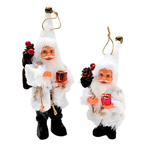 FeiliandaJJ Anhänger Deko Flanell Puppe Weihnachtsmann Weihnachten Dekoration Hängende Verzierung für Zimmer Weihnachtsbaum Party Tür Wand Haus Deko Accessoires (22CM, Weiß)