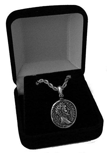 Im Alter Von Antiken Gold-finish (Goldene Artefakte Marcus Aurelius, Philosoph König Roman Coin Anhänger und Kette, römische Mythologie (26-PC-S))