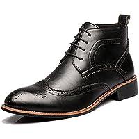 """Lingqiqi Bota de Hombre Oxfords Brogue Zapatos con Elevador Altura más Alta Puntas del ala Alta Botines de Plantilla de Aumento Superior 1""""/ (2.5 cm) Invierno (Color : Negro, tamaño : 42 EU)"""