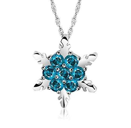 Your boy-HT Silver Plated Snowflake Full Diamond Necklace Pendant Sweater Chain Exquisite and Simple, Stylish and Versatile -