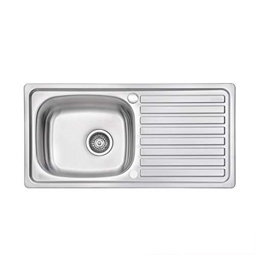 Edelstahlspülbecken 1.0 Einzelschüssel Abtropffläche links Satin mit Abtropffläche 860 x 500 mm Küchenspülen 0722 -