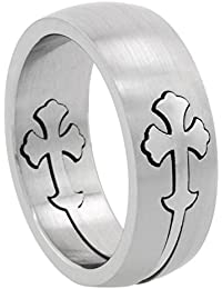 Surgical Steel Gothic Cross Ring 8mm Domed Wedding Band ,
