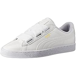 Puma Damen Basket Heart Patent Low-Top Sneaker, Weiß White, 38 EU