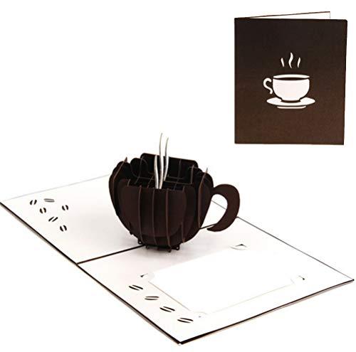 ZOOMY 3D Pop Up Kaffee Grußkarten Weihnachten Geburtstag Valentinstag Einladung 13x15cm