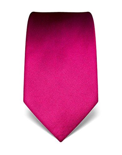 Vincenzo Boretti Herren Krawatte reine Seide uni einfarbig edel Männer-Design gebunden zum Hemd mit Anzug für Business Hochzeit 8 cm schmal/breit fuchsia