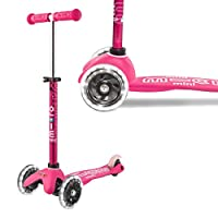 Micro Mini Led Deluxe Light Up Scooter Pink 2-5 Years Tilt And Lean Toddler Girls Childrens 3 Wheel