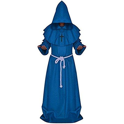 Katech Erwachsene Gewand mit Kapuze Bademantel Mittelalter Mönche Halloween Dekoration Kostüm Fancy Dress Party Standard Kostüm Renaissance Priester Gewand (Renaissance Kostüm Material)