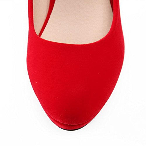 AllhqFashion Femme Matière Souple Boucle Rond à Talon Haut Couleurs Mélangées Chaussures Légeres Rouge