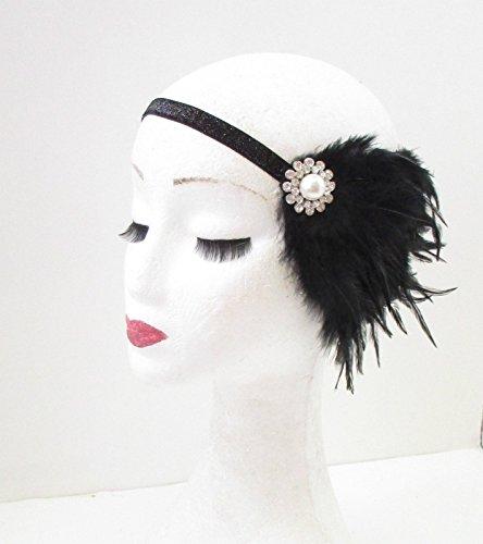 Schwarz Silber Pearl Feder Kopfbedeckung 1920er Great Gatsby Haarband VTG 31Stil der Zwanzigerjahre