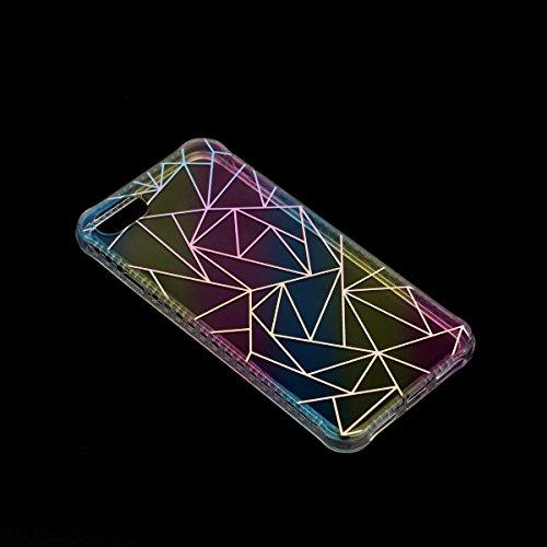 Coque iPhone 7, Étui iPhone 7, iPhone 7 Case, ikasus® Coque iPhone 7 Créatif Dégradé coloré arc en ciel Plaquage des couleurs Housse de protection en caoutchouc flexible Silicone Étui Housse Téléphone Triangle irrégulier