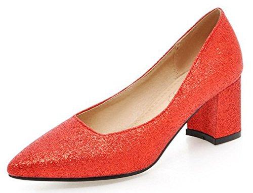 (Alnice Blockabsatz Pumps Hochzeit Schuhe Glitter Sparkle Mid Heel Heels Damen Plus Größe 37.5 EU Rot)
