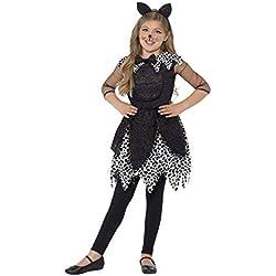 Smiffy's Smiffys-44287S Disfraz de Gata de Medianoche, con Vestido, Cola y Diadema con Orejas de, Color Negro, S-Edad 4-6 años 44287S