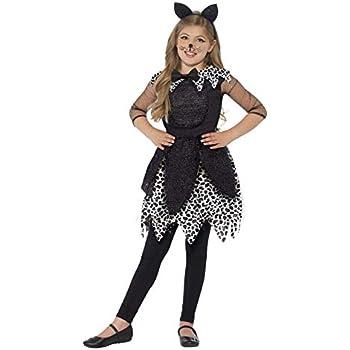 060ca893ed62 Smiffys Children's Deluxe Midnight Cat Costume, Dress, Tail & Cat Ear  Headband, Size: M, Colour: Black, 44287